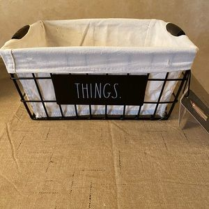 Rae Dunn Metal THINGS Storage Basket